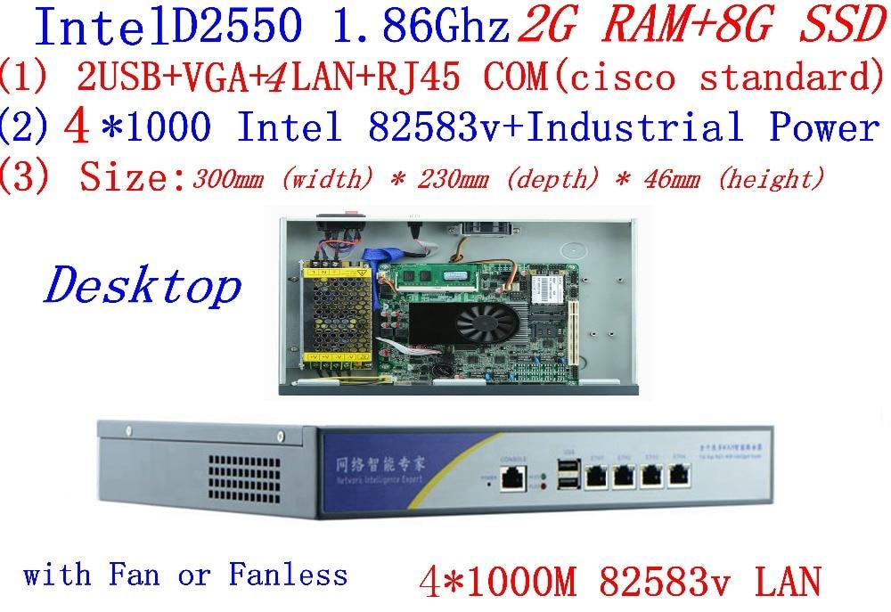 Atom D2550 Dual Core 1,86 Ghz Mit 2g Ram 8g Ssd Firewall Dienen Desktop Modus 4 * Intel 82538 V 1000 Mt Netzwerk Unterstützung Pfsense, Wayos Noch Nicht VulgäR
