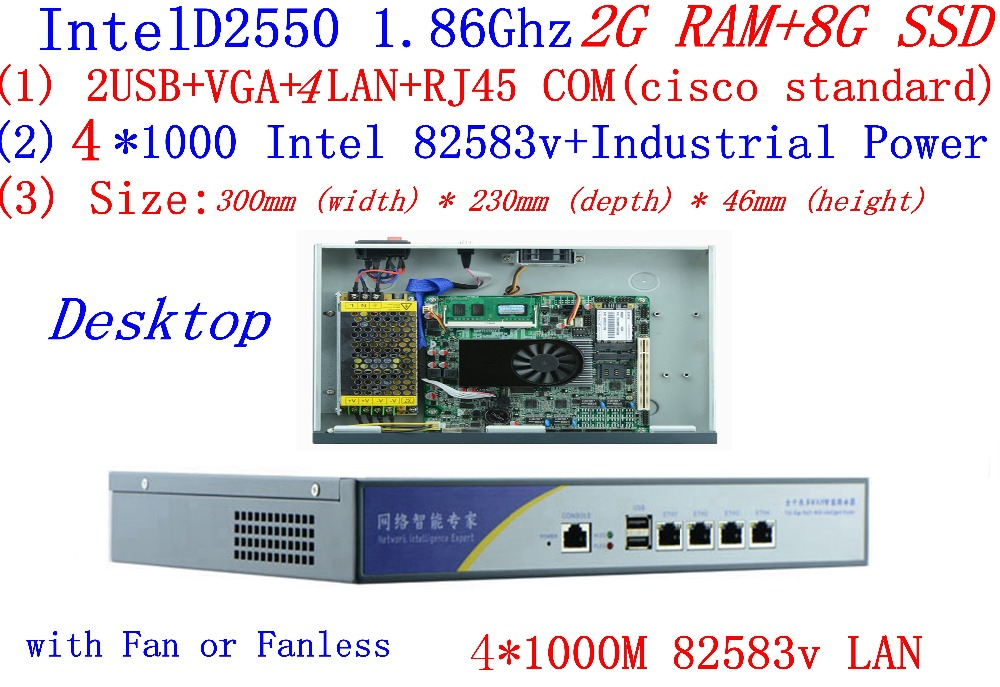 Atom D2550 Dual Core 1.86GHz With 2G RAM 8G SSD Firewall Serve Desktop Mode 4*Intel 82538V 1000M Network Support PfSense, WayOS
