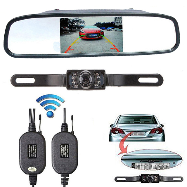 4.3 Inch Color TFT LCD Car Rearview Mirror Monitor + Wireless Transmitter and Receiver + Night Vison Car Backup Rear View Camera