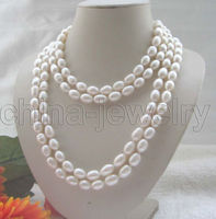 Free shipping >>>>>Beautiful long strand AAA 65 10 12mm white baroque freshwater pearl necklace