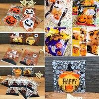 100Pcs Halloween Plastic Cookies Candy Treat Trick Self-Adhesive Bag Packing