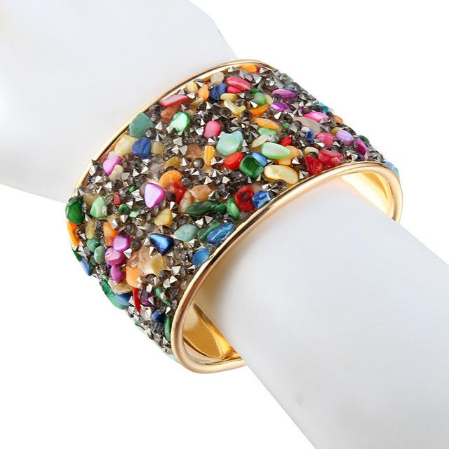Vintage Stone Embellished Cuff Bracelet