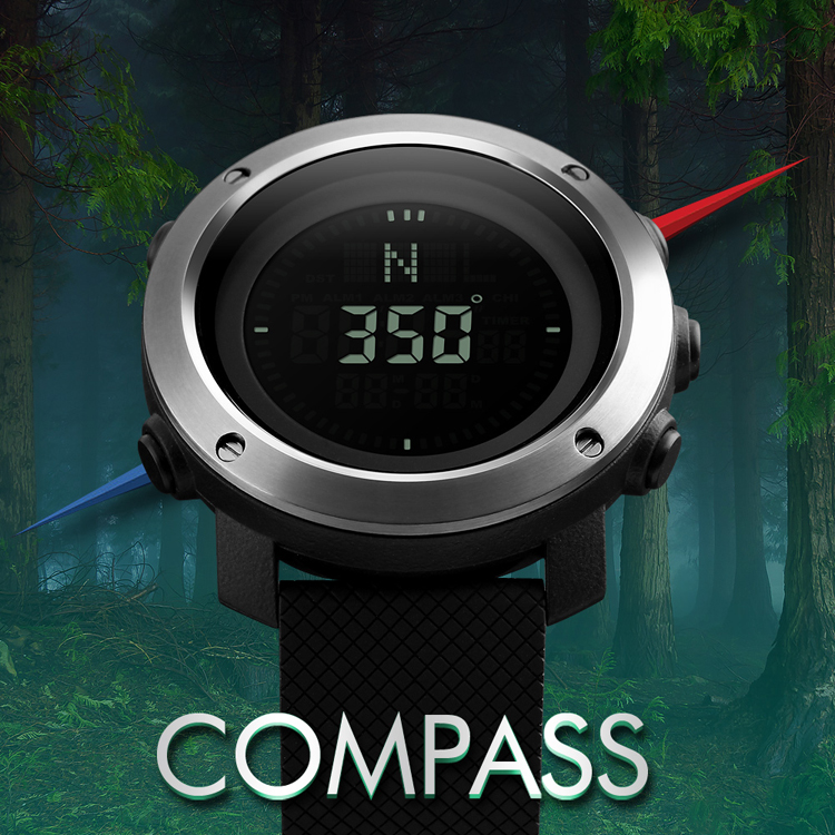 Men's Watches Zk20 Brand Compass Men Led Digital Military Watch 50m Dive Swim Military Men Sports Watches Fashion Compass Wristwatches 1293 Watches