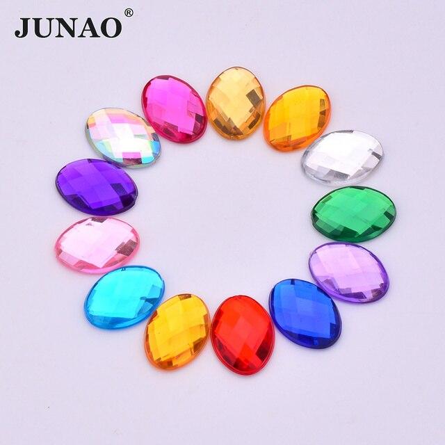 JUNAO 10 14mm Mix Color Clear AB Crystal Flatback Oval Acrylic Rhinestone  Glue Crystals Stones 73ef30b802b8