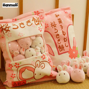 Sakura Rabbit Ball Plush Toy White/Pink Plushie Rabbit Pudding Animals Ball in Bag Stuffed Mini Rabbit Toy Huggable Kids Gift