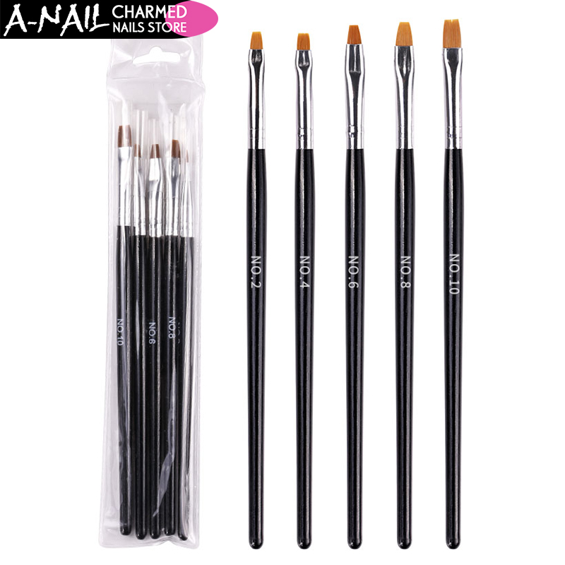 5 Pcs/Set Nail Art Brush Flat Pen Drawing Painting Tips Dust Clean Builder Acrylic UV Gel Polish Extension Design Tools Manicure