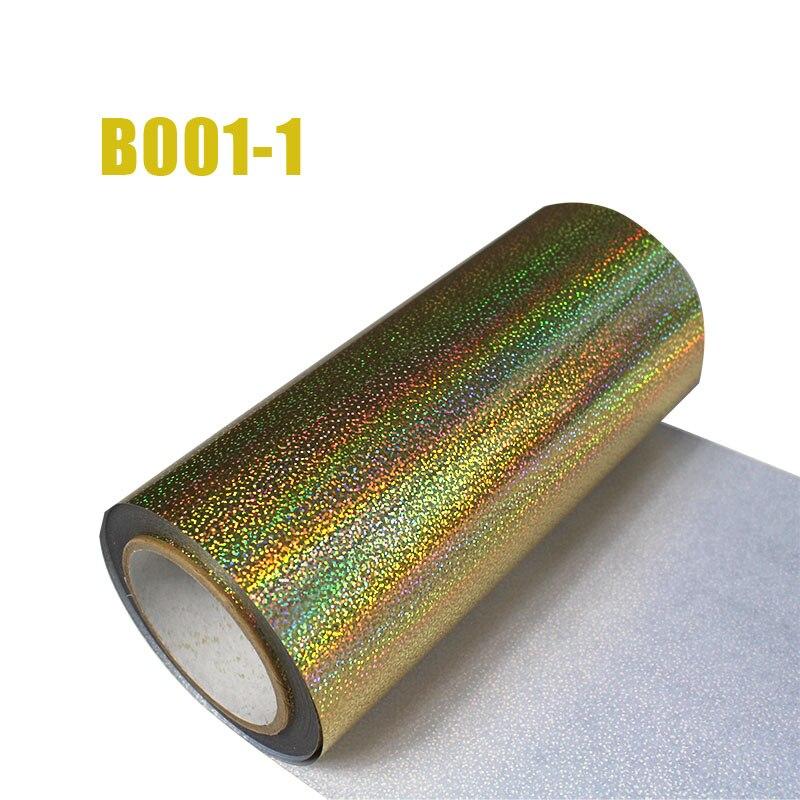 Livraison gratuite 1 rouleau 25cm x 25m hologramme transfert de chaleur vinyle Laser or fer sur Film HTV T-shirt