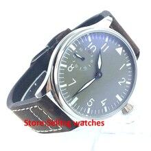 44mm classic parnis luminous 6497 movement hand winding mens watch