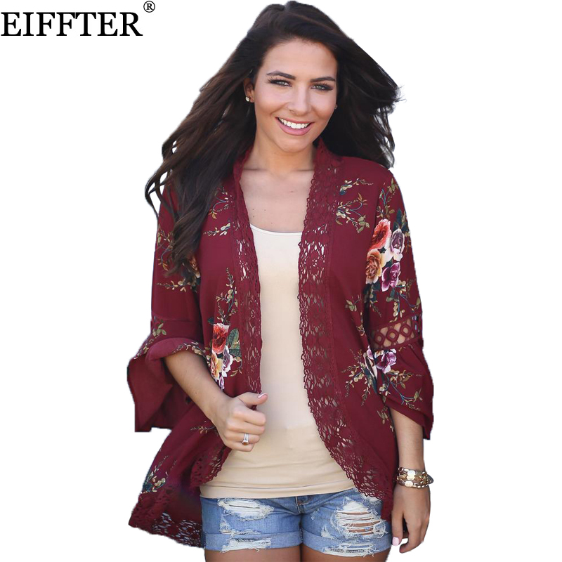 EIFFTER Spring Women Boho Floral Print Blouse New Bell Sleeve Hollow Out Lace Patchwork Kimono Cardigan Femme Chiffon Tops
