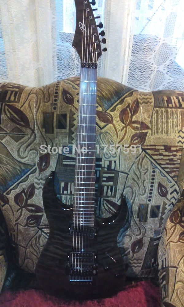 free shipping wholesale b 7 string electric guitar gray pearl black finished body top with quilt. Black Bedroom Furniture Sets. Home Design Ideas