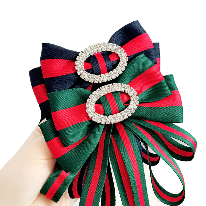 Vintage High-grade Diamond Brooch Oval Rhinestone Bows Tie Floral Neck Bow Tie Large Collar Needle Pins Handmade Fashion Jewelry