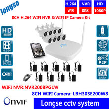 8CH Wireless NVR Kits WIFI IP Plug&Play 1080P 2MP Wireless Camera Security Kit Onvif IOS Android WiFi CCTV Security