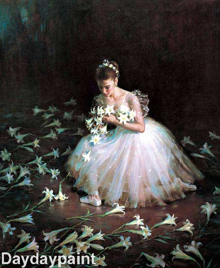 Hand Painted Classic Ballet Painting Ballet Girl in Beautiful Lilies FREE SHIPPING