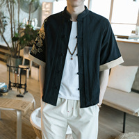 China Mens Cotton Shirt Short Sleeved Summer Wind Chinese Costume Size Embroidery Linen Retro Coat