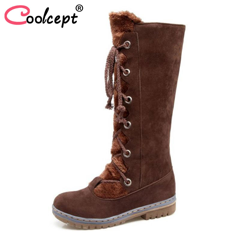 Coolcept Size 34-43 Fashion Rusia Women Winter Snow Botas Flats Boots Cross Strap Short Boots With Fur Shoes For Women Footwears padieoe men s genuine leather briefcase famous brand business cowhide leather men messenger bag casual handbags shoulder bags