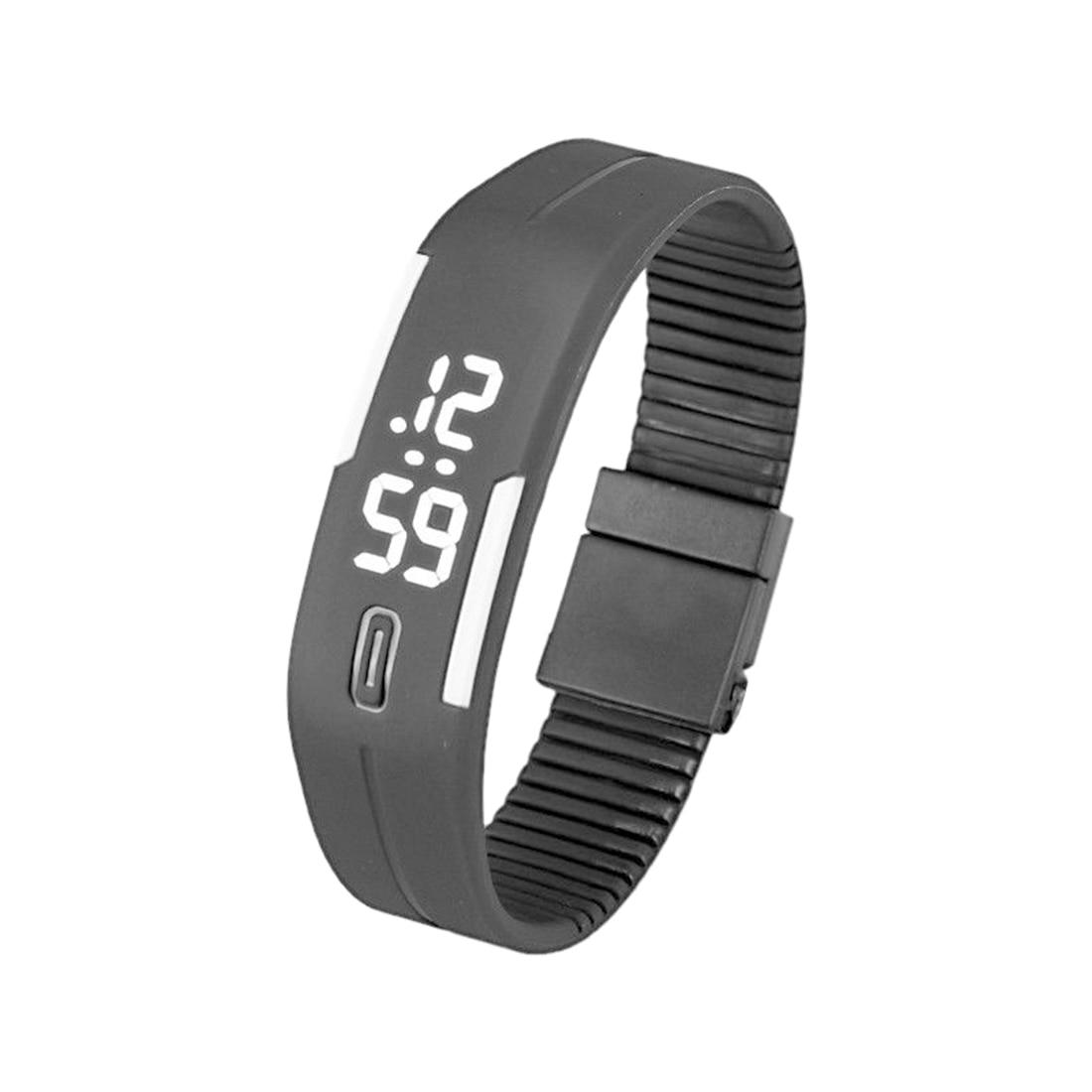 Sports Silicone Rubber White LED Digital Watch Bracelet Men Women Black