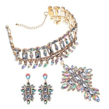 New Arrival Gold Color Chain 6 Colors Acrylic White Resin Necklace Earrings Wedding Jewelry Sets 2017