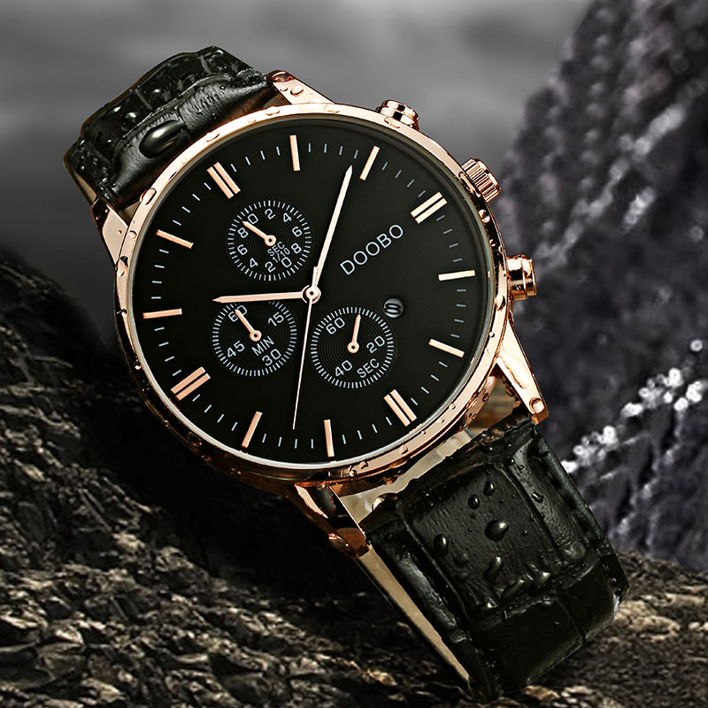 Prix pour Top Marque De Luxe Montre À Quartz Hommes D'affaires Décontractée Bracelet En Cuir Montre-Bracelet Date Horloge Mâle Sport Montre Saat Relogio Masculino