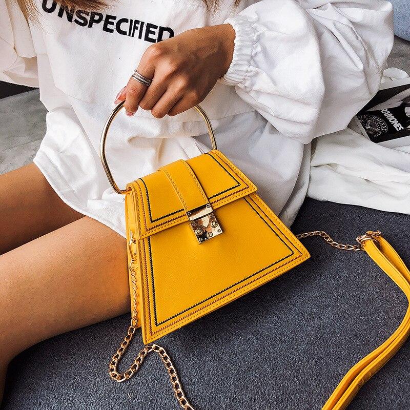Neue Mode Trapez frauen Kette Tasche Hohe Qualität Nähgarn Pu Leder Handtasche Umhängetasche Mädchen Schulter Tasche