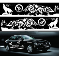 1 Set Car Styling Wolf Totem Car Sticker Auto Body Side Wolf Decal Emblem Vinyl