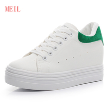 Womens Wedge Platform Shoes White Sneakers Lace Up Casual Height Increasing 6CM Leather New Fashion Brand Trainers