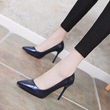 031b621928 2018 estação Europeia Sapatos moda Mulher negra 9cm7cm5cm lad salto alto  apontou boca rasa sapatos stiletto