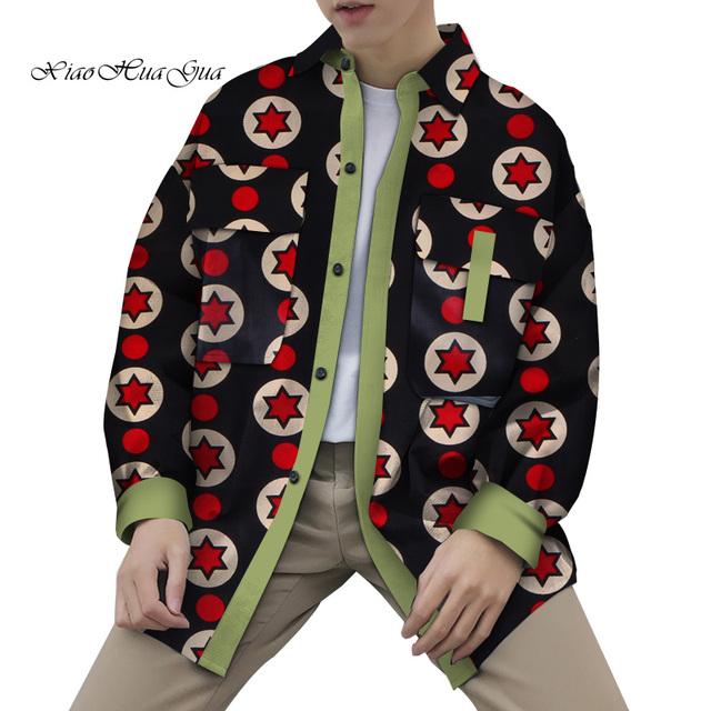 African Bomber Jacket Men Bazin Riche African Clothing Men Wax Print Cotton Dashiki Causal Shirts Coat Jacket Wyn808