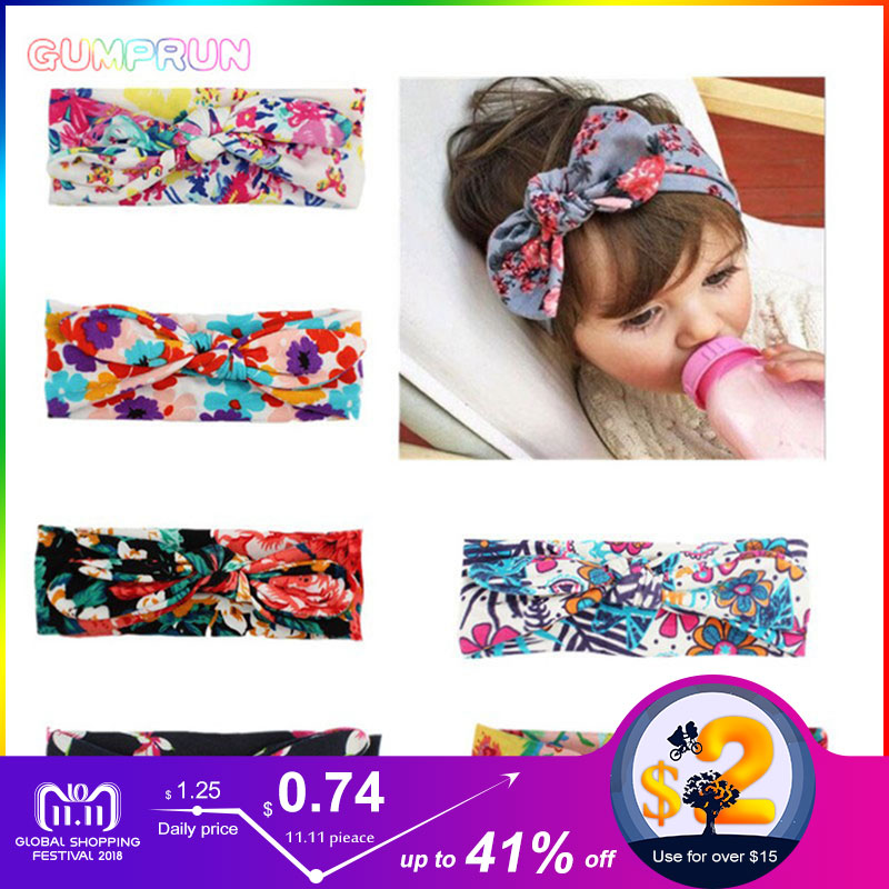 все цены на Fashion Baby Girl Accessories Cute Floral Boho Newborn Headband Elastic Soft Baby headband 7 Colors Bowknot Girl Hairband
