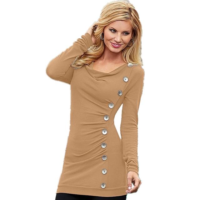 Camiseta larga Para Las Mujeres de manga Larga Otoño de La Manera V-cuello Delgado Decoración De Botón sólido Casual Tops Camiseta Femme Caliente venta