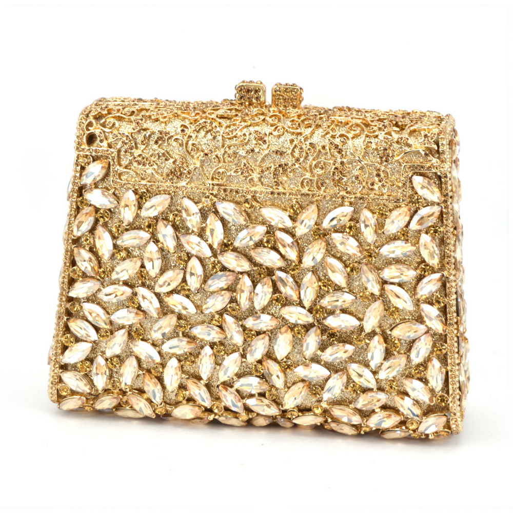 Gift Box GOLD Colors Crystal Metal Clutches Hard Case ...