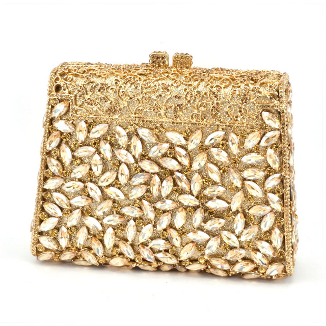 Gift Box Gold Colors Crystal Metal Clutches Hard Case