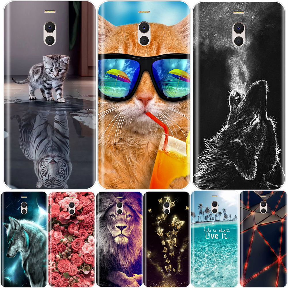 Phone Case For Meizu M6 M5 M3 M2 Note Soft Silicone TPU Cute Cat Painted Back Cover For Meizu M6 M6S M5C M5 M5S M3S M3 M2 Case image