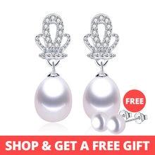 b64e7ba9a217 De moda corona de circón AAA naturales de 8-9mm de agua dulce de la perla  de la boda de pendientes para las mujeres
