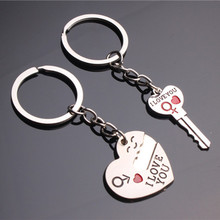 2pcs Couple Keychain Valentine's Day for Lover Zinc Alloy Wedding Favor Best Gift for Girl Friend Wife Dropshipping