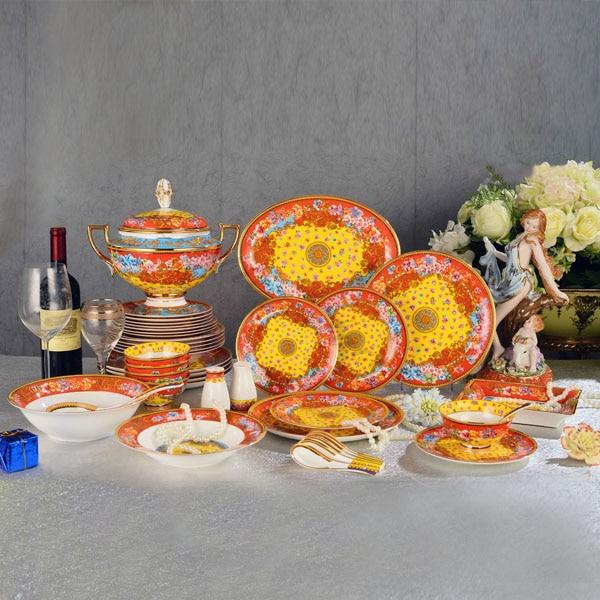69 pieces orange lucky and joyous design porcelain dinner ...