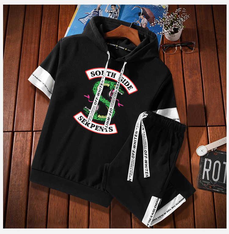 Летняя футболка с принтом ривердейла, в стиле хип-хоп, с короткими рукавами, футболки и спортивные штаны для мужчин, комплект из двух предметов, костюм с капюшоном, Бархатный спортивный костюм для женщин