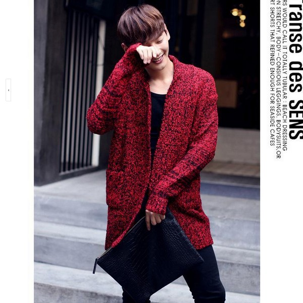 0b7072ca4c2fd HOT ! 2017 Men s long section thick sweater tide men s fashion red knit sweater  jacket Korean line clothing tide