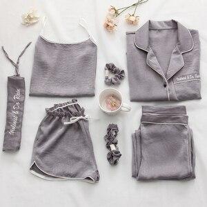 Image 1 - Mulheres pijamas 7 peça conjunto de seda manga longa superior cintura elástica calças salão completo feminino sleepwear conjuntos primavera verão casa wear