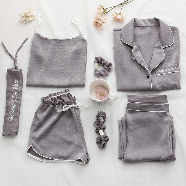 Mulheres pijamas 7 peça conjunto de seda manga longa superior cintura elástica calças salão completo feminino sleepwear conjuntos primavera verão casa wear
