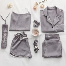 Vrouwen Pyjama 7 Delige Set Zijde Lange Mouw Top Elastische Taille Broek Volledige Lounge Vrouwen Nachtkleding Sets Lente Zomer Thuis dragen