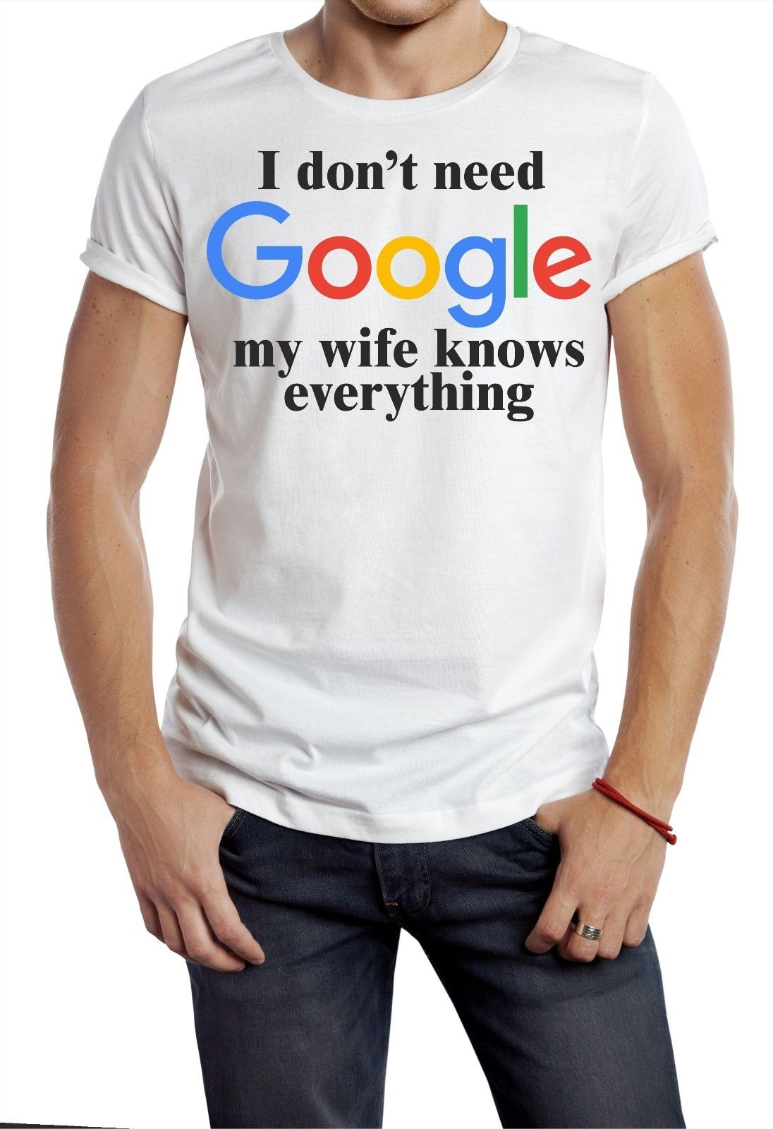 I DON'T NEED GOOGLE T SHIRT MY WIFE KNOWS EVERYTHING FUNNY GEEK NERD SHELDON W