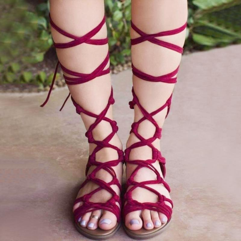 new 2017 shoes sandals lace up knee high boots