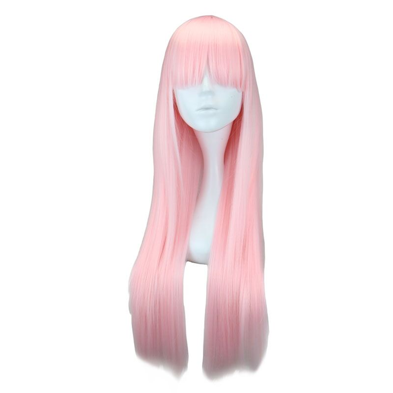 QQXCAIW Long Straight Women Cosplay Light Pink 70 Cm Synthetic Hair Wigs
