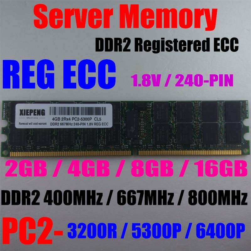 16 servidor 16GB (2x8 GB) DDR2 667MHz PC2-5300P RAM 4GB 2Rx4 PC2-3200 DDR2 400MHz REG ECC 2GB PC2 6400P 800MHz usuario memoria ECC Kembona original chips marca PC de escritorio DDR2 1 GB/2 GB/4 GB 800 MHz/667 MHz/533 MHz DDR 2 DIMM-240-Pins escritorio memoria Ram