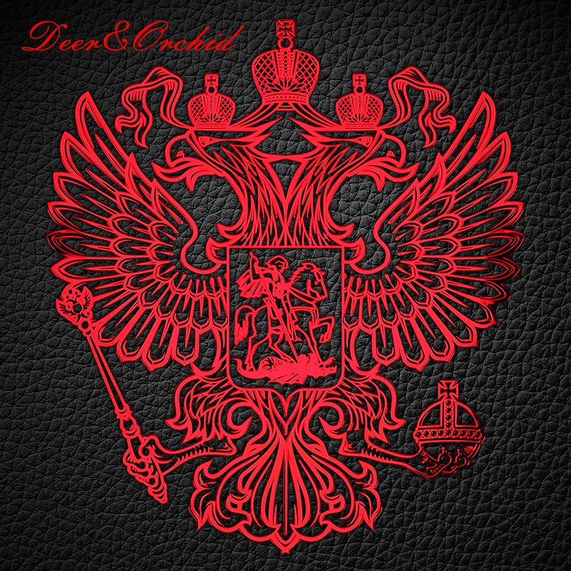 Metal Stickers Red Emblem Nickel Stationery on Smooth surface for Telephone Car Laptop Window Fridge Badge of Russian Eagle