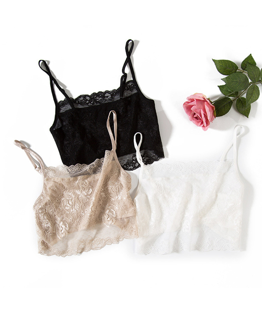 Silk Lace Tube Top Women Short Elegant Bra Knitting Brassiere Female For Anti-emptied White Black Khaki Brallete Fashion 2016