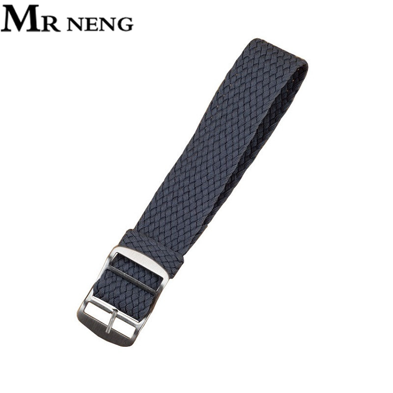 MR NENG Grey Watchband 22mm 20MM For Perlon NATO Waterproof Watch Strap Fashion Fabric Watch Band Available 14mm 16mm 18mm