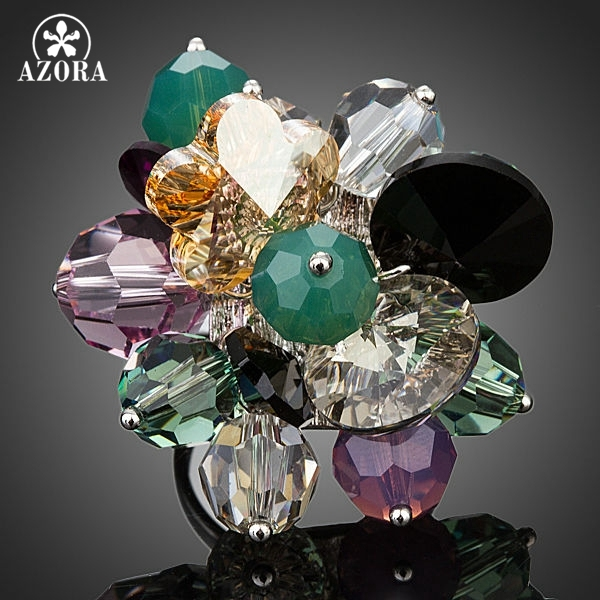 AZORA Amazing Flower Design With Stellux Austrian Crystal Adjustable Size Ring TR0122