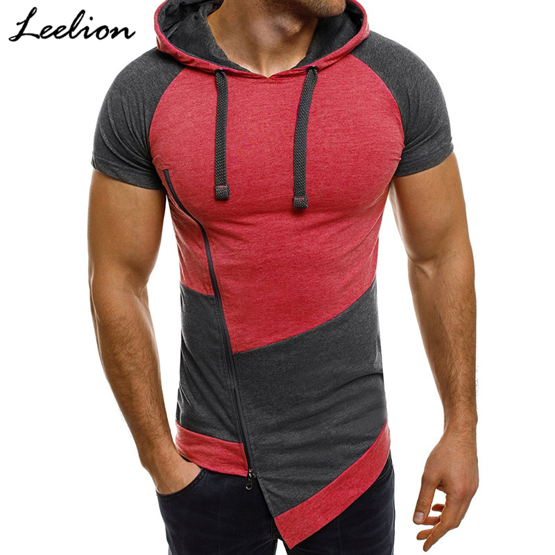 Camiseta de manga corta con capucha de verano de LeeLion 2018 para hombre de moda oblicua cremallera Hit Color Patchwork Camiseta ajustada para hombre