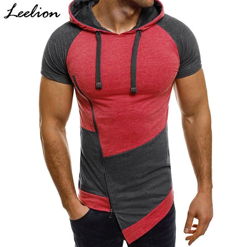 LeeLion 2018 Summer Hooded Short Sleeve   T     Shirt   Men Fashion Oblique Zipper Hit Color Patchwork   T  -  shirt   Slim Fit Men's Tshirt